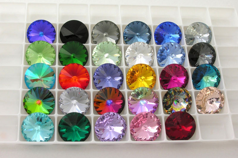 кристаллы, swarovski, цвета, синий, серебристый
