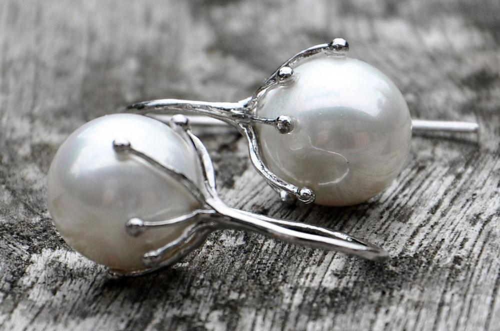 дания, черненое серебро, серьги с курпным жемчугом, жемчуг крупный