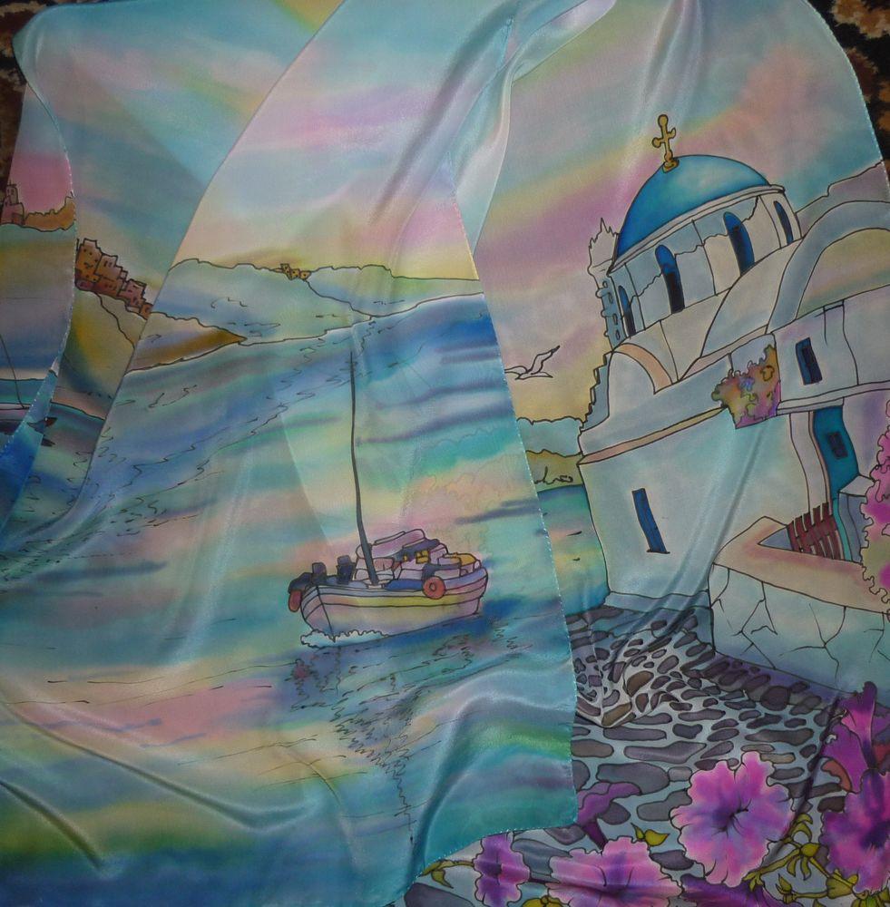 шарф, шёлковый шарф батик