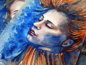 Рисуем акварелью портрет в холодных тонах «Лед и пламя». Ярмарка Мастеров - ручная работа, handmade.