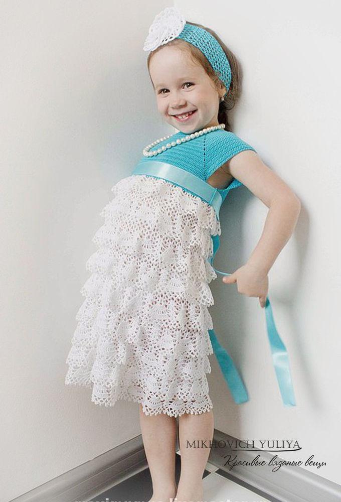 платья для девочки, платье крючком