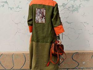 НОВИНКА! Платье -рубашка из натурального льна и хлопкового вельвета. Ярмарка Мастеров - ручная работа, handmade.