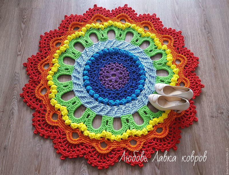 радуга, ковры ручной работы, ковер из шнура, текстиль для дома