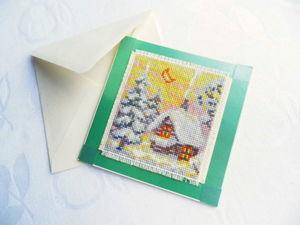 Щедрый аукцион на зимнюю открытку. Ручная вышивка крестом. Ярмарка Мастеров - ручная работа, handmade.