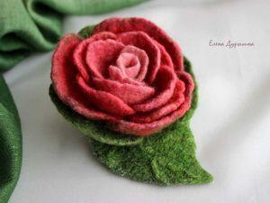 "Скидка на валяную брошь ""Роза"". Ярмарка Мастеров - ручная работа, handmade."