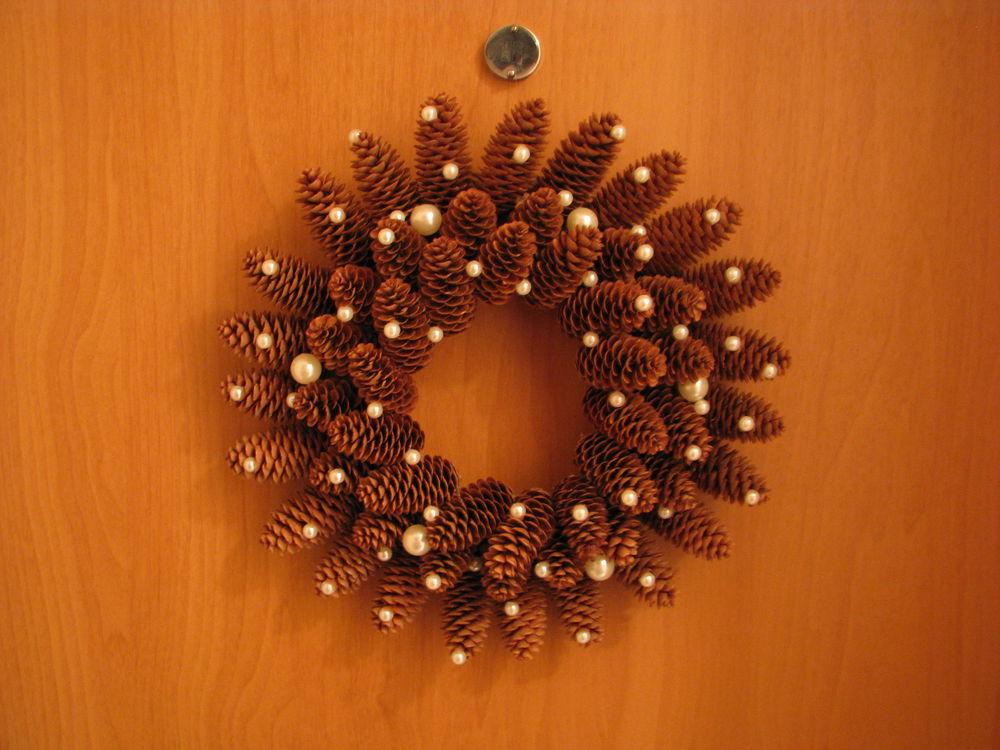 Мастерим Рождественский венок из еловых шишек, фото № 18