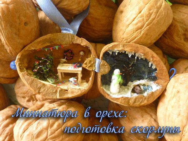 Создаем миниатюру в орехе: подготовка скорлупы | Ярмарка Мастеров - ручная работа, handmade