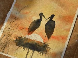 Видео мастер-класс: картина акварелью «Журавлиная пара на закате». Ярмарка Мастеров - ручная работа, handmade.