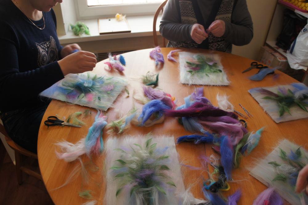 мастер-класс, рисуем шерстью, рисование шерстью, мк живопись шерстью, картина из шерсти