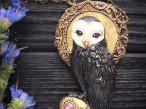 Новинка!!!Owl. Кулон из полимерной глины. Кулон с камнем. Подвеска. Ярмарка Мастеров - ручная работа, handmade.