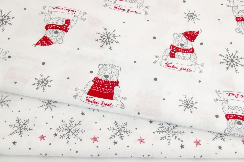 хлопок, нокогодние ткани, новогодний хлопок, новое поступление, ткань с мишками, ткань со снежинками