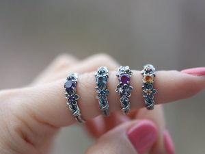 Кольца с полудрагоценными камнями из серебра. Гравировка в подарок до конца года!. Ярмарка Мастеров - ручная работа, handmade.