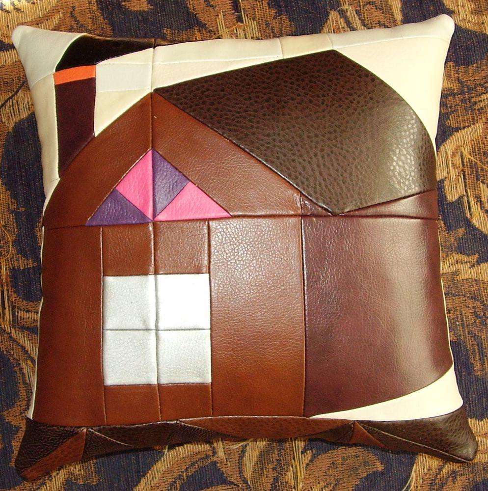 ar-rt-t, лоскутное шитье, подушка, лоскутки, домик, дом, дым, кожзам, чердак, интерьер