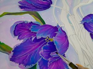 Необычные тюльпаны  для Любови Васильевны. Батик на заказ. Ярмарка Мастеров - ручная работа, handmade.