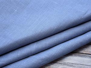190руб./п.м. Лён 100% серо-голубой арт.1046 оптом. Ярмарка Мастеров - ручная работа, handmade.