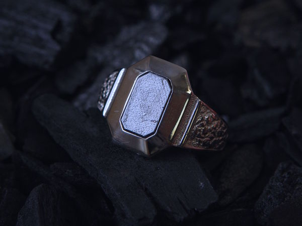 Мужское кольцо с Метеоритом | Ярмарка Мастеров - ручная работа, handmade
