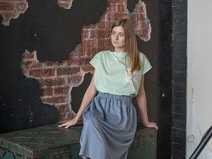 YOKU LOOK: мятная блуза-оверсайз с карманом и юбка колокол цвета светлый индиго. Ярмарка Мастеров - ручная работа, handmade.