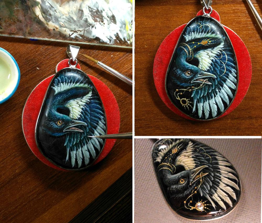пегас, тигровый глаз, перья, этапы росписи