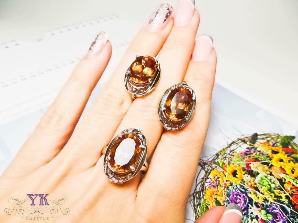 Серьги и кольцо из серебра и натурального султанита. Скидка!