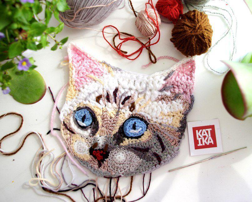 вязание крючком, кошки, обучение в москве, crochet painting