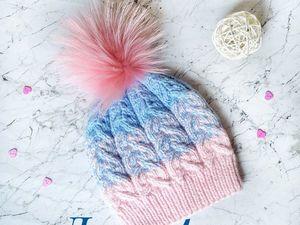 Лотерея! ЛОТ - красивая вязаная шапочка с помпоном из енота. Ярмарка Мастеров - ручная работа, handmade.