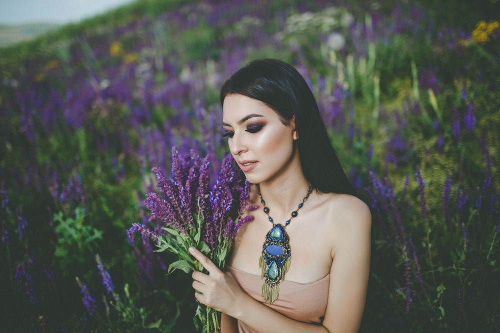 lav beaded art, нежные цветы