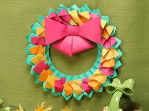 Мастерим пасхальный венок из цветной бумаги | Ярмарка Мастеров - ручная работа, handmade
