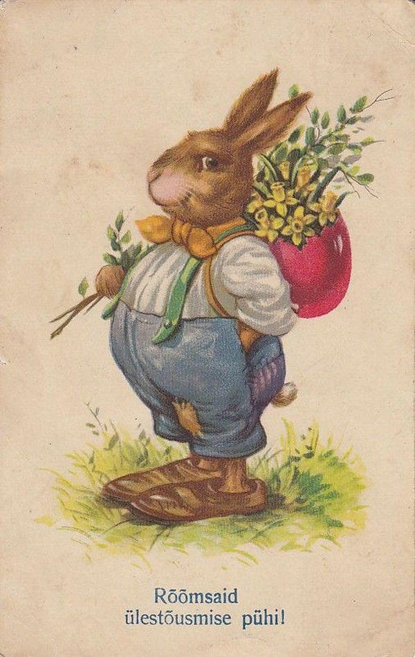 Пасхальный кролик открытка винтаж
