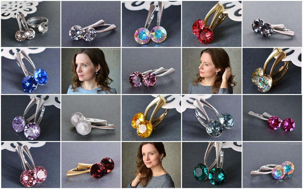 серьги с кристаллами, купить серьги серебро