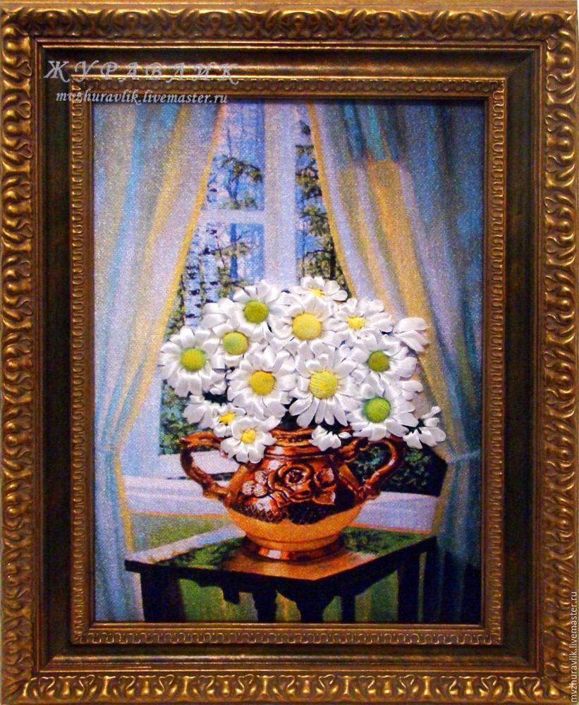 картина, вышивка лентами, вышивка, вышитые, ромашки, цветы, белые, ромашка, букет, подарок
