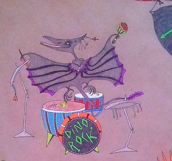 крафт-бумага, русский рок, наивное искусство, птеродактиль