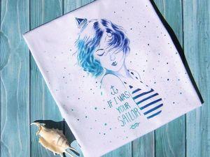 """Новая работа — футболка с ручной росписью """"Ты моё море!"""". Ярмарка Мастеров - ручная работа, handmade."""