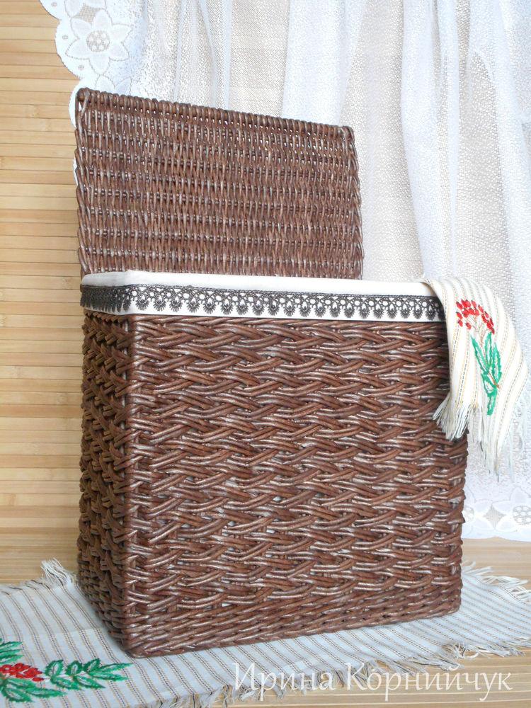 плетеная корзина, корзина с кружевом