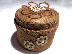 Изготавливаем шкатулку из баночки и декорируем ее джутовым шпагатом: видео мастер-класс. Ярмарка Мастеров - ручная работа, handmade.