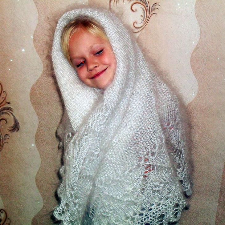 шаль вязаная, платок шелковый