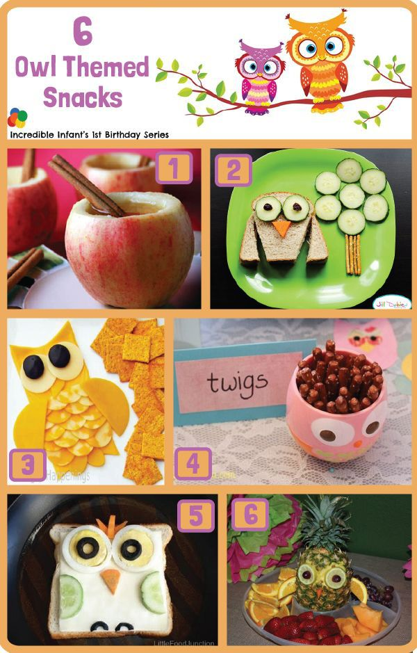 6 Owl Birthday Themed Savory Snacks - Part of a collection of 30 Owl Birthday Ideas from <a href=