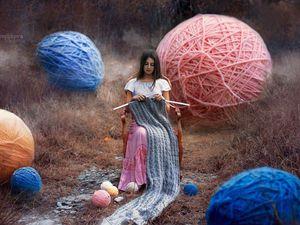 Девочка и клубочек ниток | Ярмарка Мастеров - ручная работа, handmade