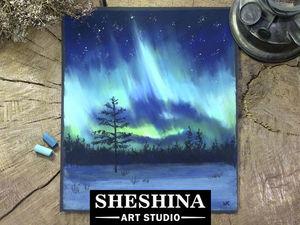 Видеоурок: рисуем северное сияние сухой пастелью. Ярмарка Мастеров - ручная работа, handmade.