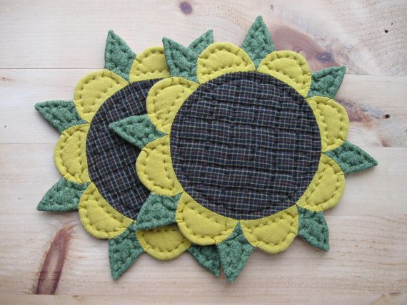 Quilted Trivets - Quilted Table Mat  - Candle Mat - Set of Two Sunflower Rustic Country Decor Farmhouse Decor Primitives Country Table Decor