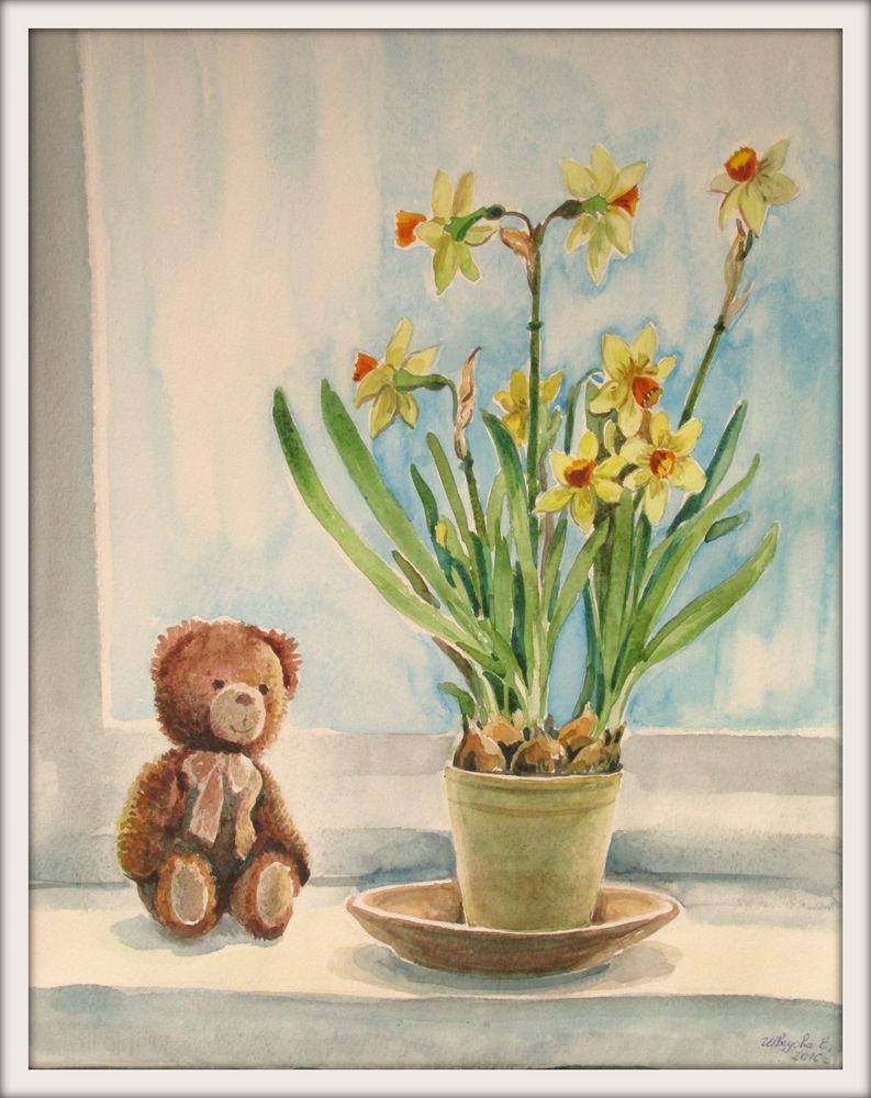 новая работа, картина акварелью, акварельная живопись, акварель, авторская работа, авторская акварель, нарциссы, мишка, игрушка, цветы акварелью, ярмарка мастеров, солнечный, солнечный день, ручная работа, купить картину, купить в москве