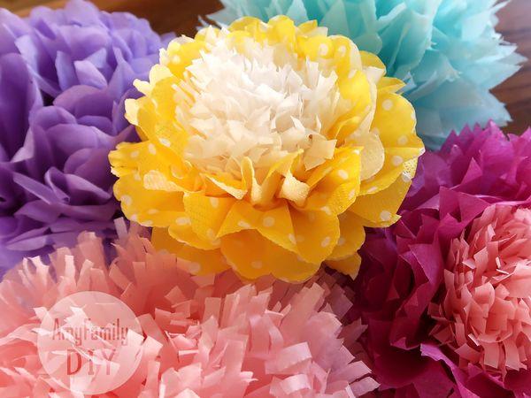Мастерим цветы-помпоны из бумаги тишью или салфеток за пару минут | Ярмарка Мастеров - ручная работа, handmade