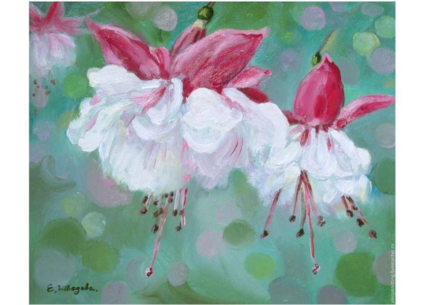 картина маслом, розовый цвет, пасха, христово воскреение, цветы