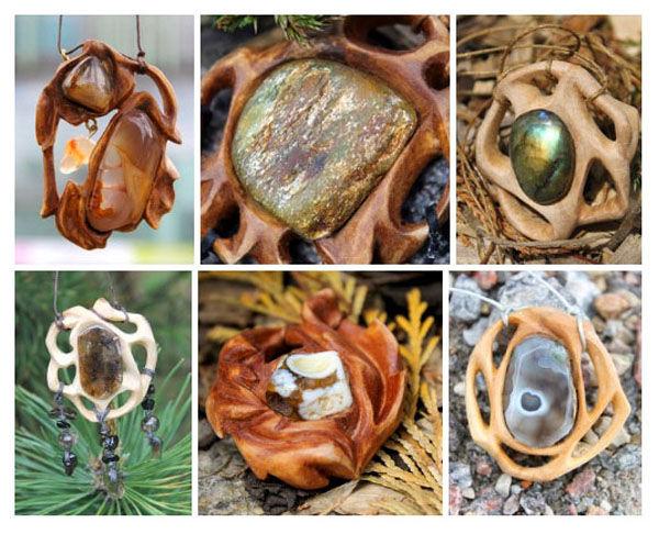 дерево, резьба, резное дерево, кулоны, амулеты, натуральные камни, древесина