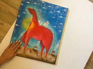 картина маслом Красный Конь. Ярмарка Мастеров - ручная работа, handmade.
