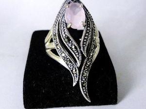 Аукцион с нуля на  серебряное кольцо ручной работы розовый кварц Ласточка. Ярмарка Мастеров - ручная работа, handmade.