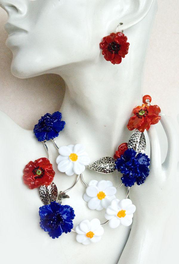 галерея, лемпворк, лето, цветы, стекло, маки, васильки, ромашки, украшения с цветамии, стеклянные украшения, лэмпворк, lampwork