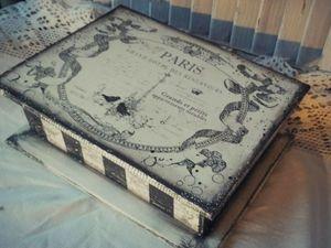 Декорируем чайную шкатулку «Монохромный Париж»: видео мастер-класс. Ярмарка Мастеров - ручная работа, handmade.