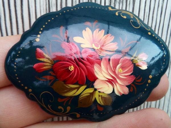 Завершен! Аукцион на винтажные броши с росписью Жостово | Ярмарка Мастеров - ручная работа, handmade