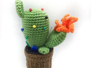 Вяжем кактус-игольницу к 8 марта. Ярмарка Мастеров - ручная работа, handmade.