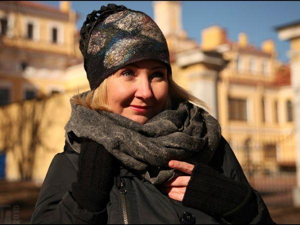 МК Шапочка (шарфик) с декором из волокон 9 декабря | Ярмарка Мастеров - ручная работа, handmade